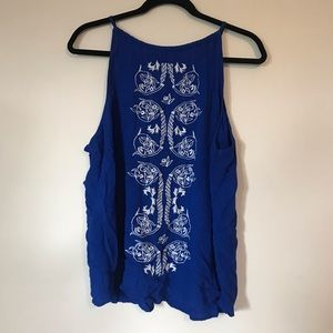 Blue Embroidered Charlotte Russe Halter Tank Top